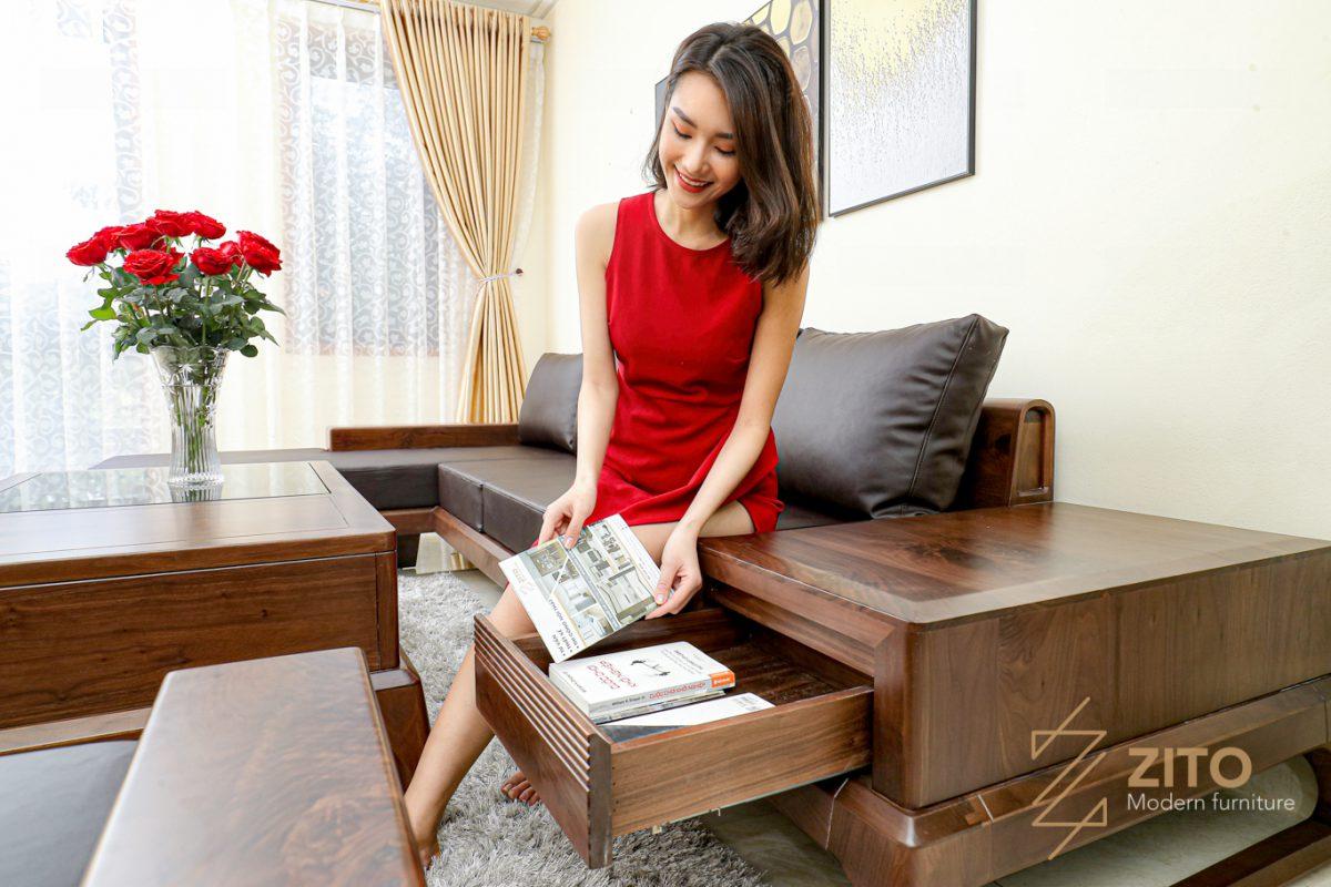 ưu điểm của bộ bàn ghế sofa gỗ óc chó nhập khẩu zg155