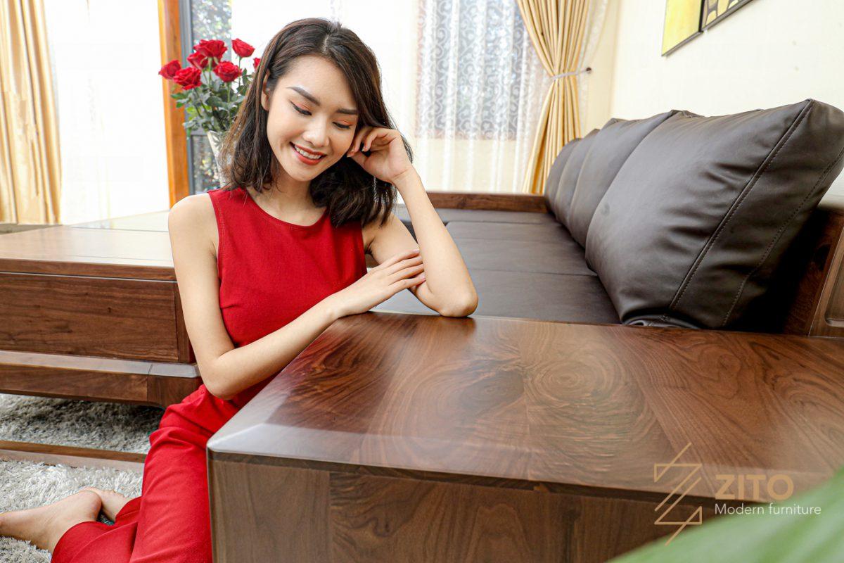 tap bộ bàn ghế sofa góc l gỗ óc chó zg155 siêu đẹp