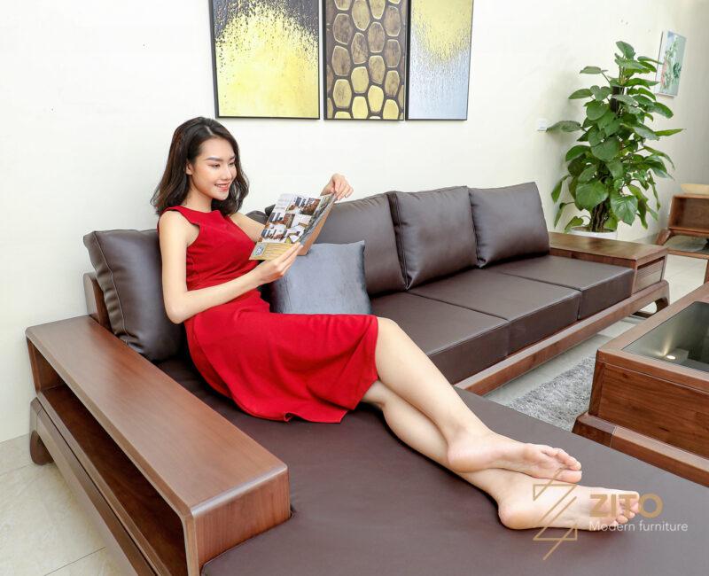 Thiết kế sofa chữ L đa năng tiện lợi