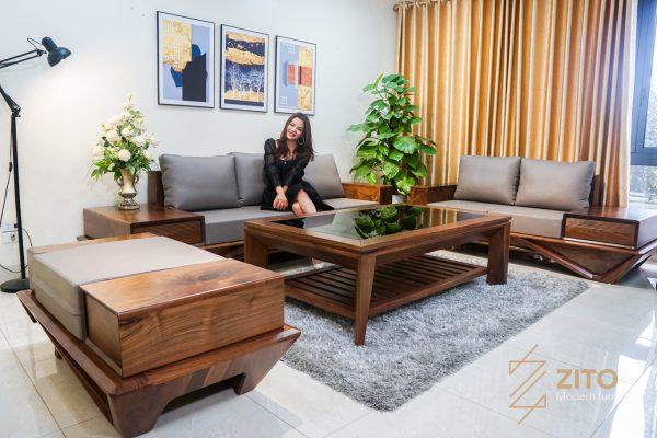 Thiết kế sofa gỗ óc chó ZG 159