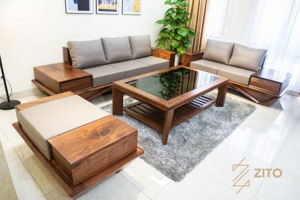Combo sofa cao cấp hiện đại ZG 159 bao gồm 2 văng, 1 đon và 1 bàn trà có cùng kiểu dáng và chất liệu
