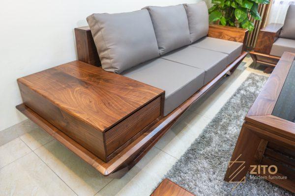 ghế văng sofa gỗ óc chó zg159 siêu đẹp và hiện đại
