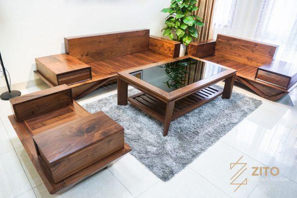 Combo bàn ghế sofa chữ u gỗ óc chó ZG 159 cho không gian phòng khách rộng