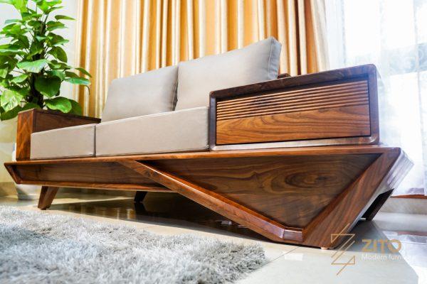 Kiểu chân sofa gỗ óc chó hình W độc đáo