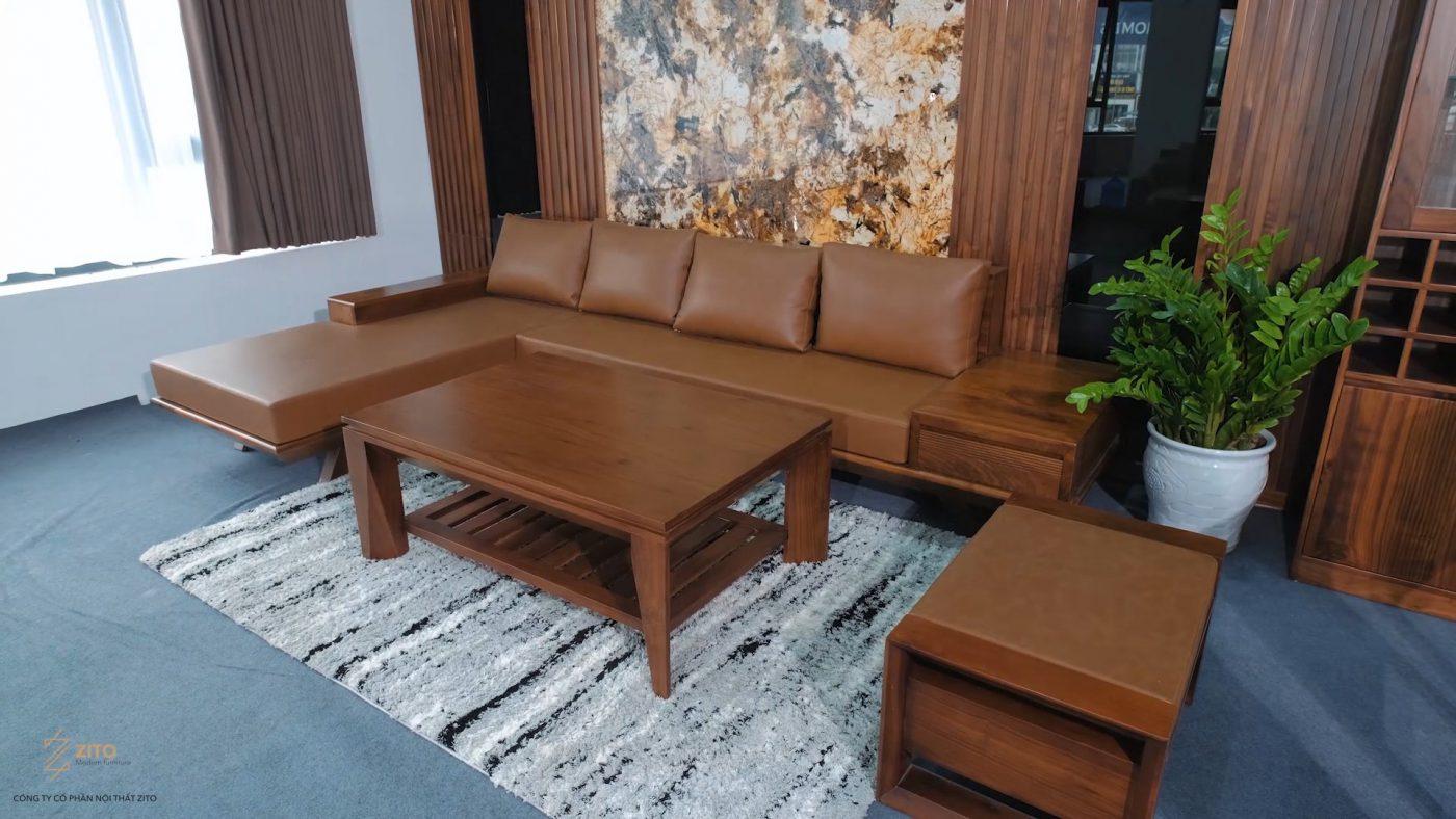 sofa gỗ óc chó ZG 132 chữ L phù hợp với nhiều không gian phòng khách