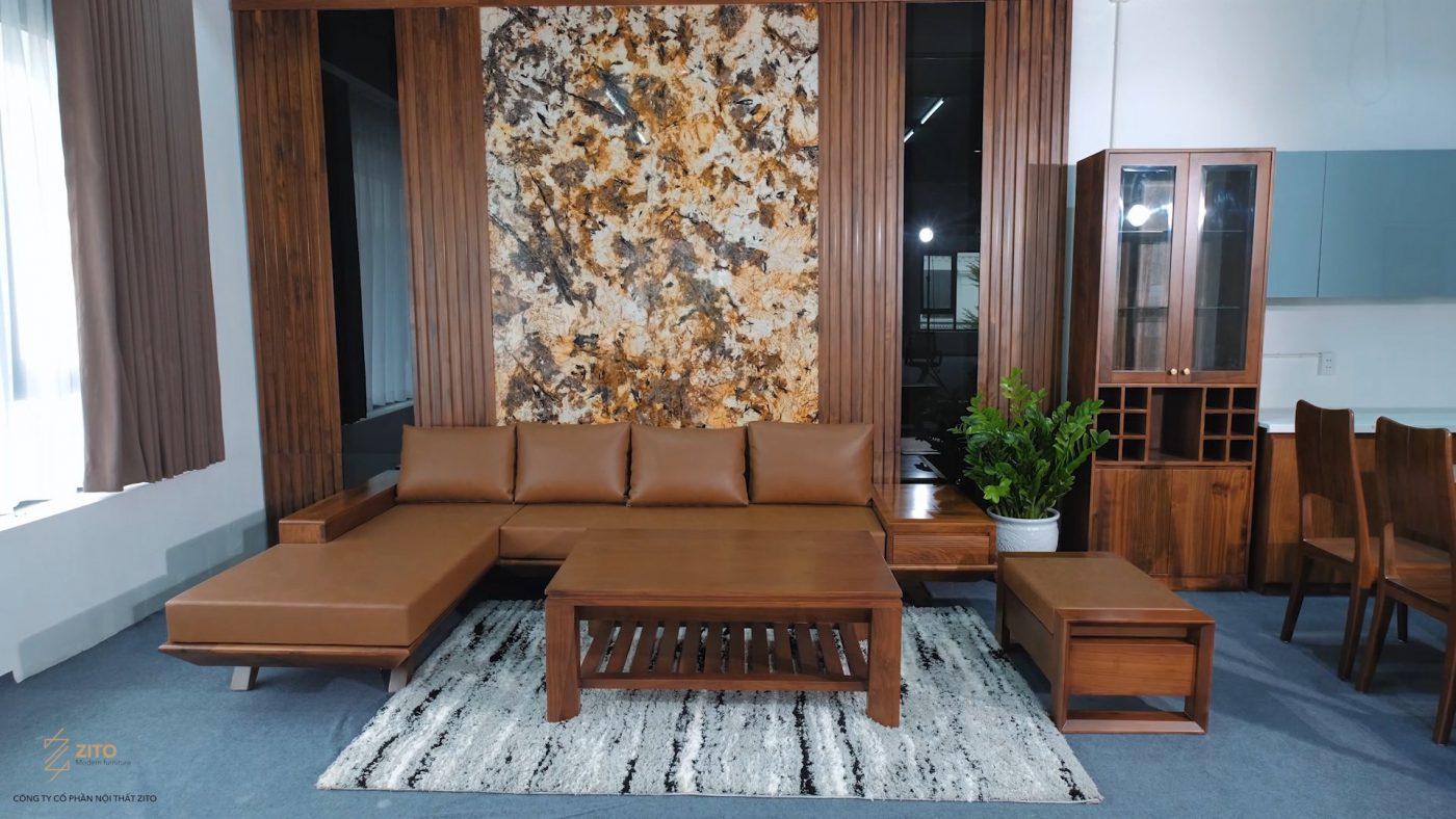 sofa gỗ óc chó góc l cho phòng khách vừa và lớn zg132