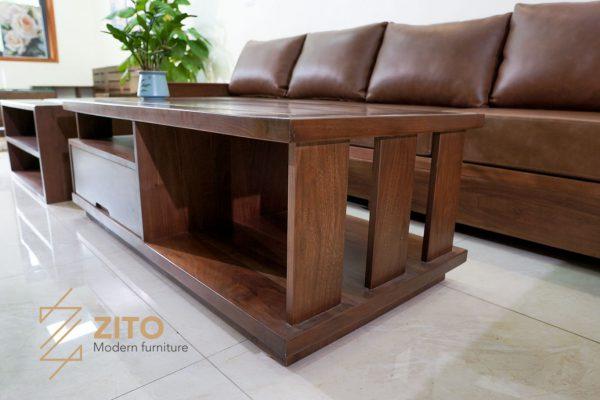 sofa gỗ óc chó phong thủy phòng khách