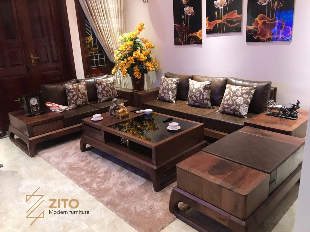 sofa gỗ phòng khách cao cấp zg159
