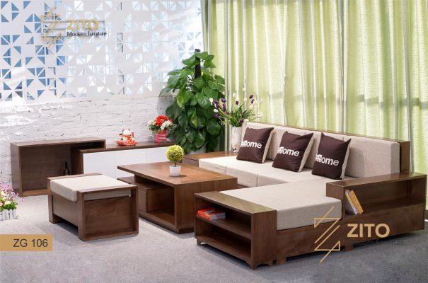 sofa màu gỗ óc chó kế hợp đệm sáng bắt mắt