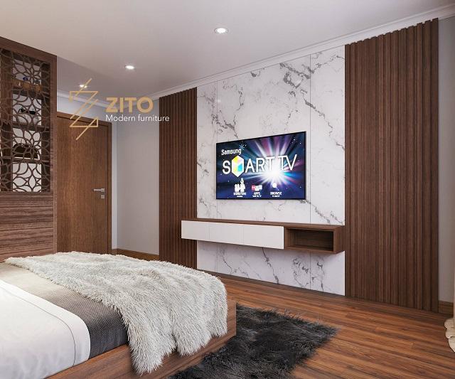 thiết kế kệ tivi cho phòng ngủ