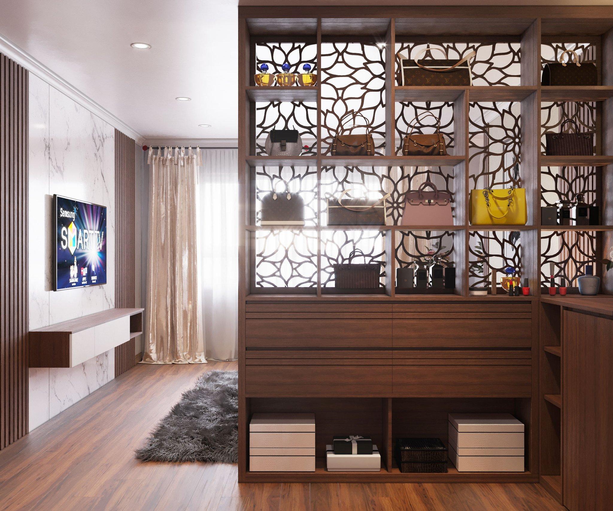 Thiết kế nội thất chung cư căn 114m2 An Bình City Vách ngăn gỗ