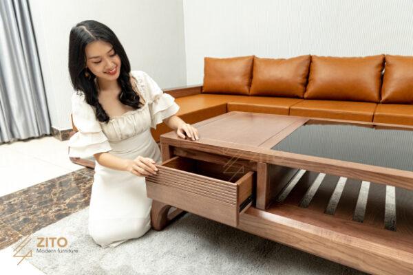 Thiết kế bàn trà đi kèm chân nối hiện đại cao cấp
