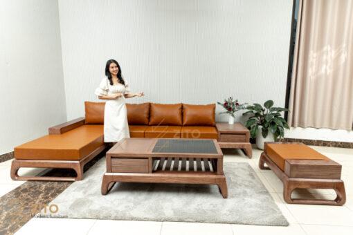 bo sofa go soi zg 155 goc l Sofa chữ L gỗ Sồi ZG 155 S08
