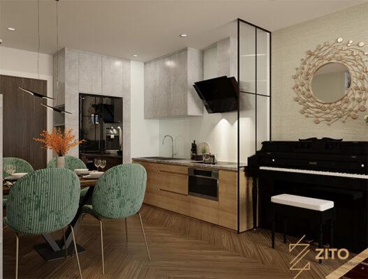 nội thất phòng bếp chung cư 54m2