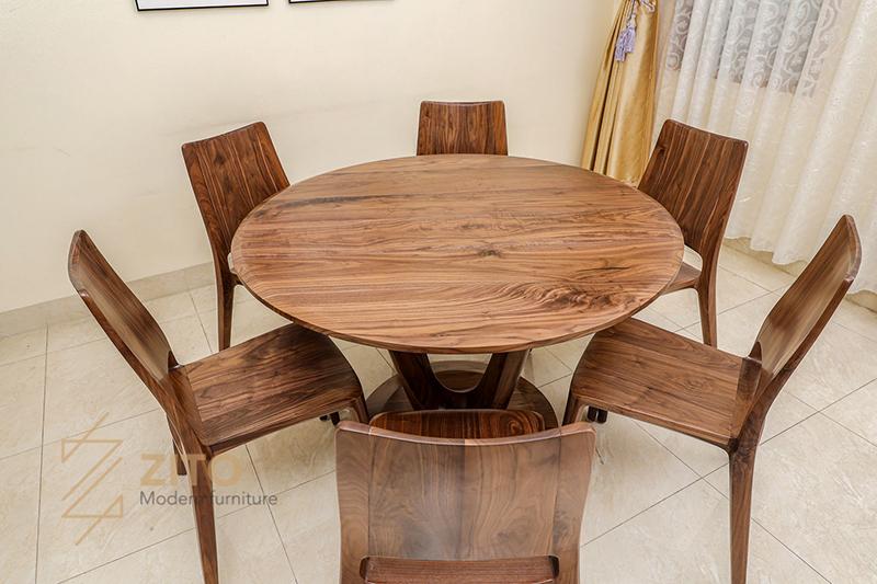 Bàn ghế ăn 6 ghế gỗ óc chó zito