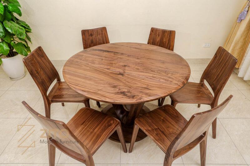 Bộ bàn ăn gỗ óc chó 6 ghế giá bao nhiêu