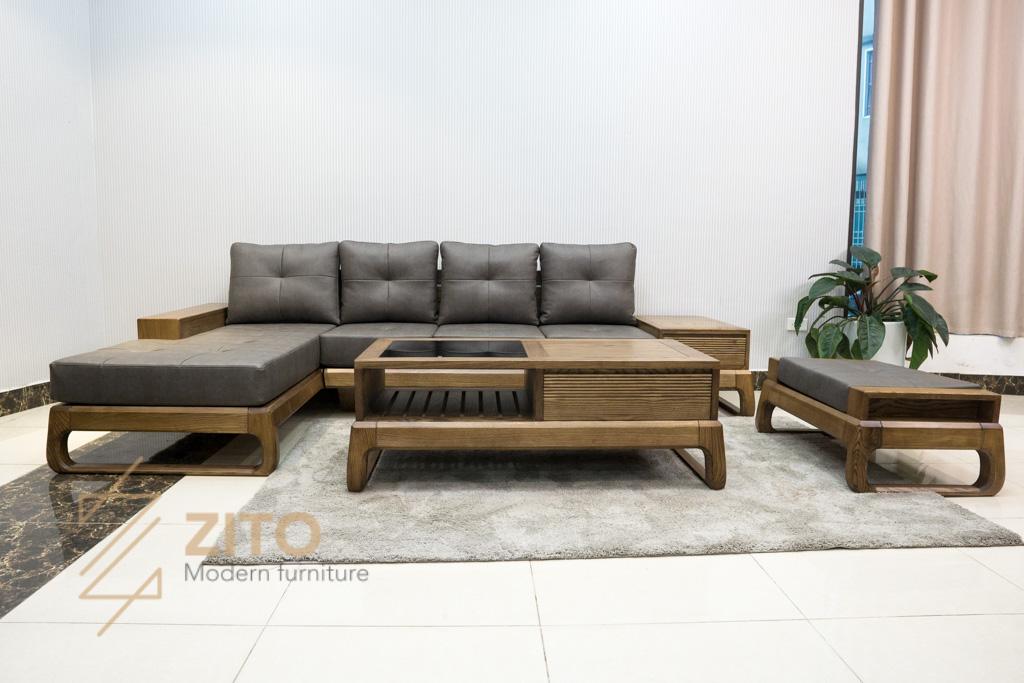 Sofa góc chữ L gỗ sồi ZG 155C porary có màu sơn đẹp