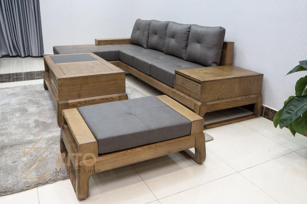 Sofa góc chữ L gỗ sồi ZG 155C porary có bàn trà và đôn rời cao cấp