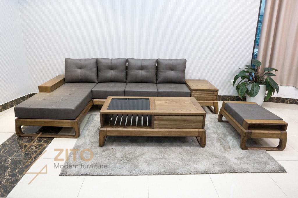 bộ bàn ghế Sofa góc chữ L gỗ sồi ZG 155C porary