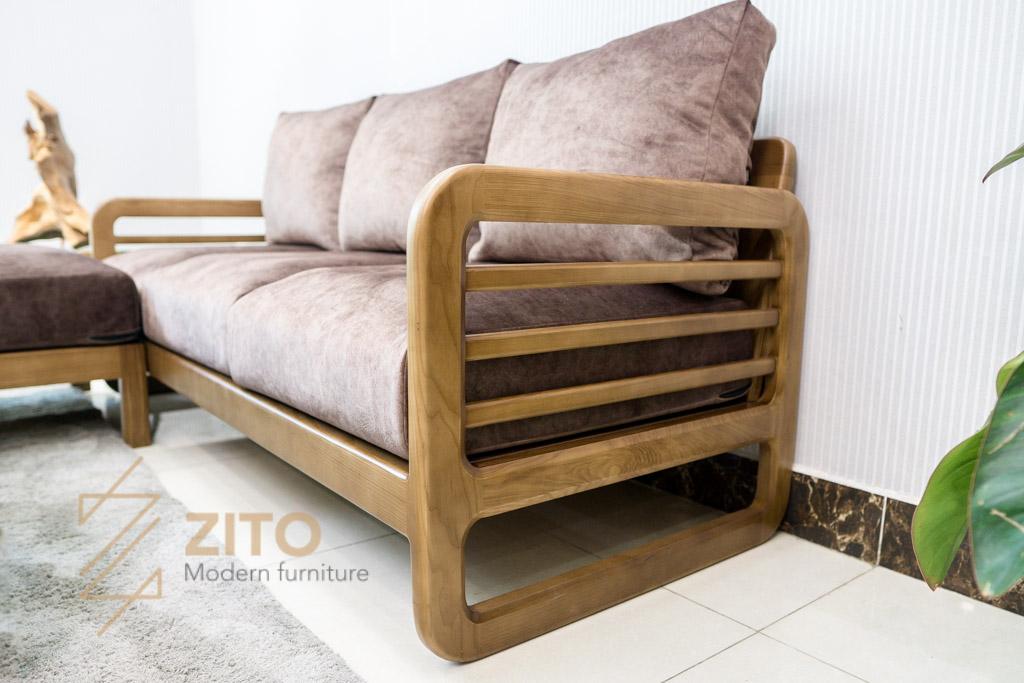 khung ghế Sofa văng gỗ sồi ZG 165 nhiều nan hiện đại