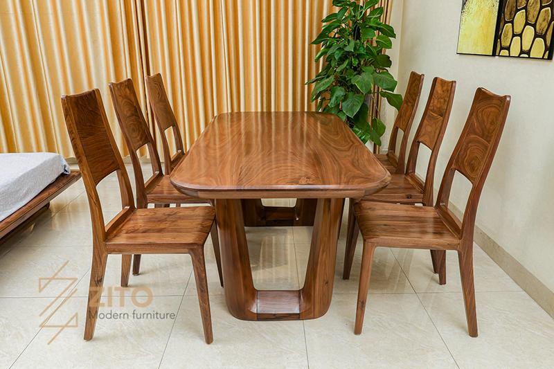 Bàn ghế ăn ZBA 608 & ZGA 608 chất liệu gỗ óc chó màu nâu đặc trưng và hiếm có