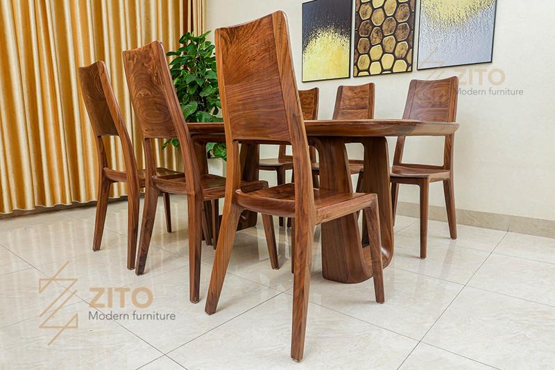 Ghế ăn gỗ óc chó ZGA 608 thiết kế đơn giản hợp xu hướng để kết hợp với nhiều mẫu bàn ăn khác nhau