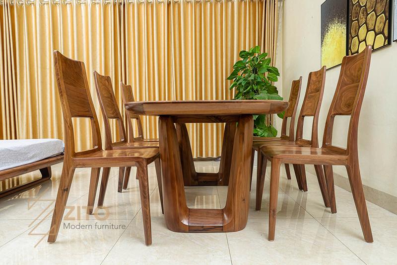 Chân bàn ZBA 608thiết kế cách điệu chữ U bởi tấm gỗ lớn tạo độ chắc chắn bền bỉ