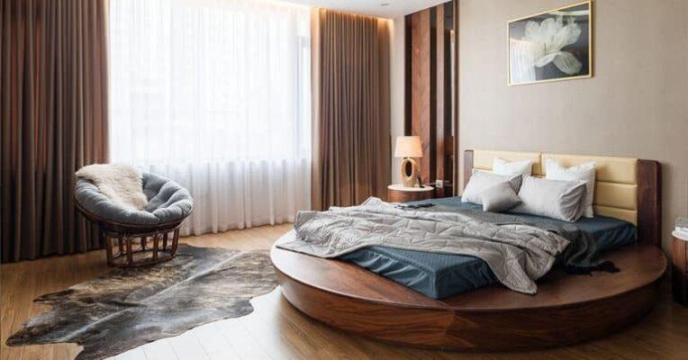 Giường ngủ tròn gỗ tự nhiên ZA 809