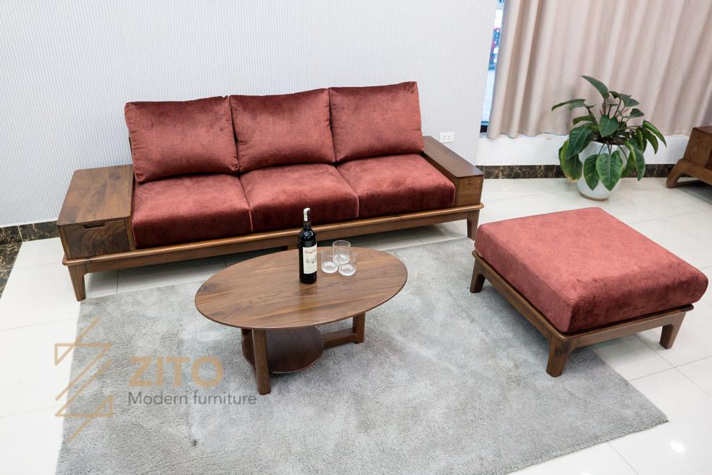 full bộ bàn ghế sofa văng gỗ óc chó zg 166