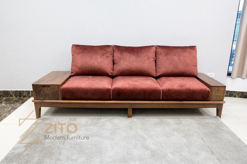 Sofa đơn gỗ óc chó ZG 166 chất liệu đệm nỉ đỏ cao cấp