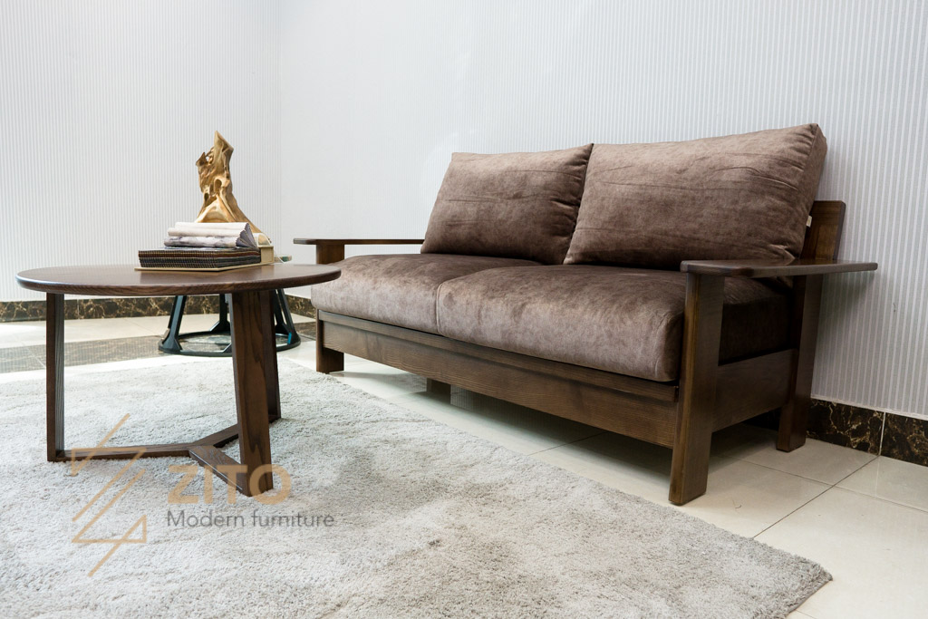 ghế sofa văng gỗ ZG 167 kết hợp bàn trà tròn đẹp hiện đại