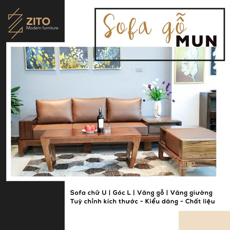 Sofa gỗ mun